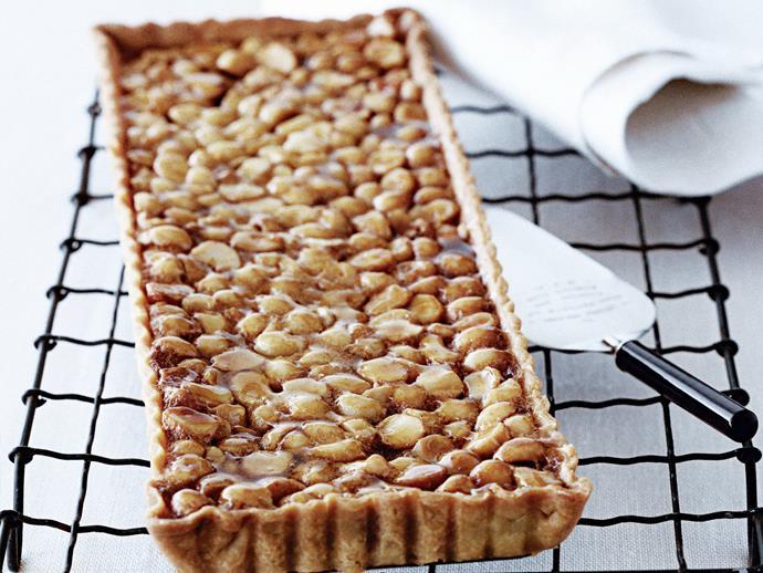 "**[Macadamia golden syrup tart](https://www.womensweeklyfood.com.au/recipes/macadamia-golden-syrup-tart-5017|target=""_blank"")**"
