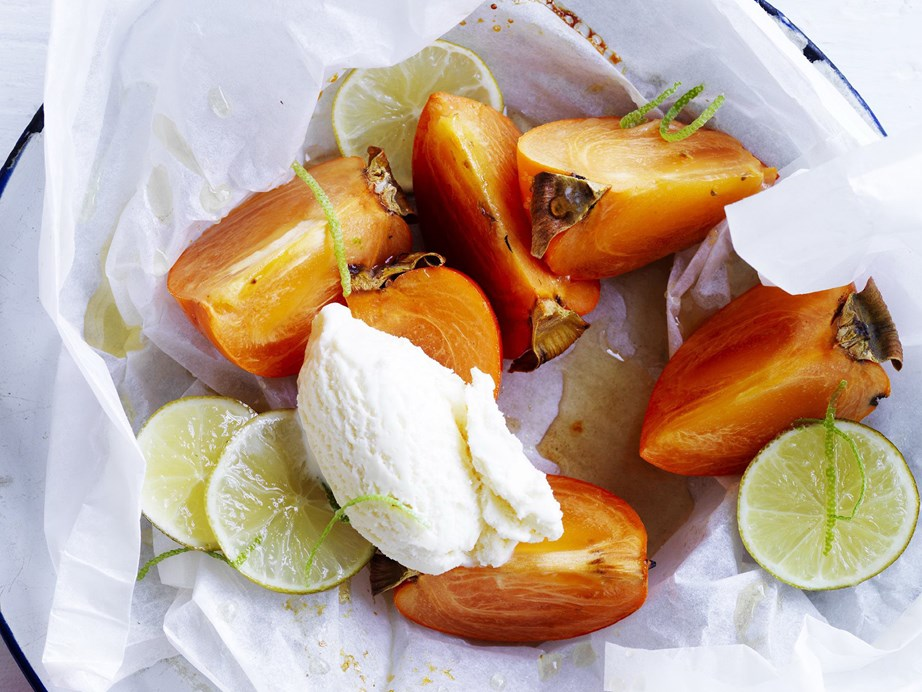"""May is the perfect time to give some **persimmon** recipes a whirl! [Persimmons baked with honey and lime](https://www.womensweeklyfood.com.au/recipes/honey-and-lime-baked-persimmons-12069