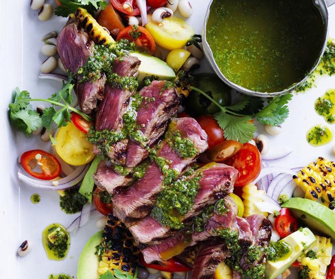 warm beef salad with black-eyed peas, corn and chimichurri
