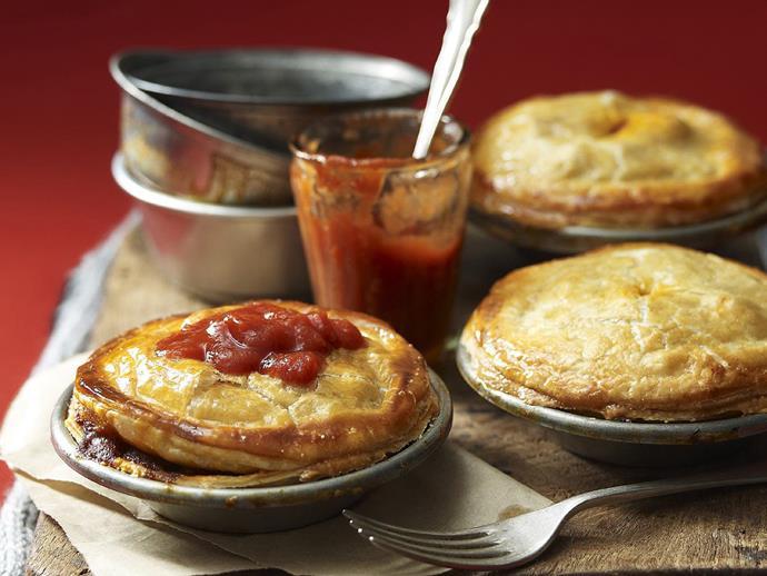 "**[Chunky beef and mushroom pies](https://www.womensweeklyfood.com.au/recipes/chunky-beef-and-mushroom-pies-12098|target=""_blank"")**"