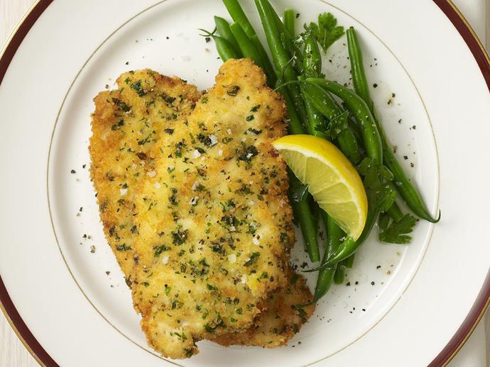 """[Herbed chicken schnitzel](https://www.womensweeklyfood.com.au/recipes/herbed-chicken-schnitzel-12118