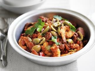 smoky prawn and chorizo stew