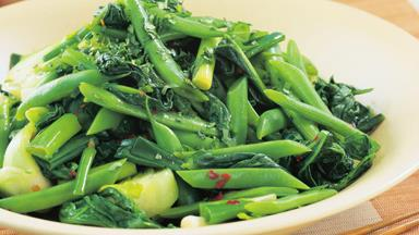 Stir-fried greens with green beans
