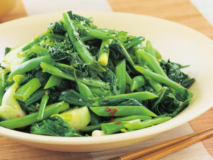"""**[Stir-fried greens with green beans](https://www.womensweeklyfood.com.au/recipes/stir-fried-greens-with-green-beans-12154 target=""""_blank"""")**  Give yourself a bold flavour kick along with a healthy serve of your five-a-day with these spicy stir-fried Asian greens with ginger and teriyaki sauce. They are perfect on their own for a healthy light lunch, or, serve them alongside grilled fish, chicken or meat."""