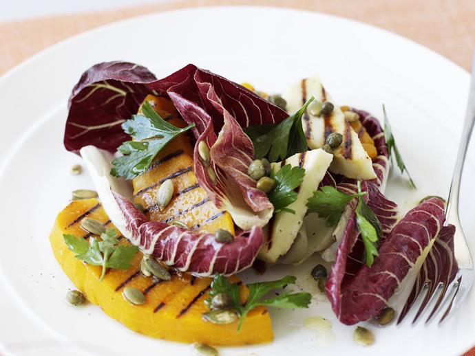 "**[Radicchio, pumpkin and haloumi salad](https://www.womensweeklyfood.com.au/recipes/radicchio-pumpkin-and-haloumi-salad-12155|target=""_blank"")**"