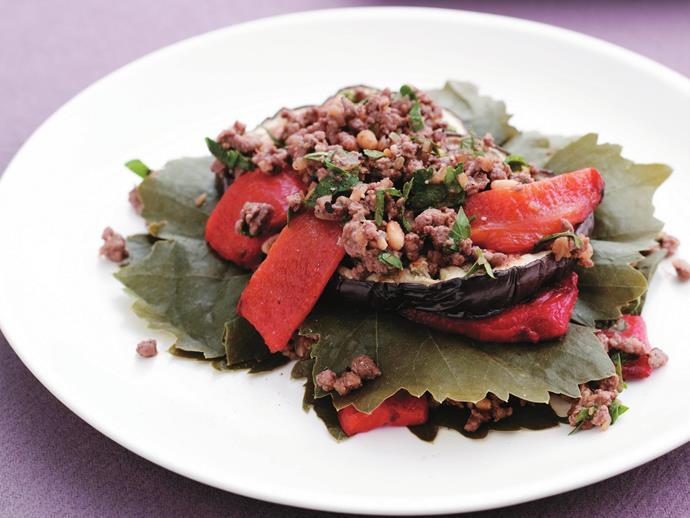 "**[Layered vine leaves, eggplant and lamb](https://www.womensweeklyfood.com.au/recipes/layered-vine-leaves-eggplant-and-lamb-12178|target=""_blank"")**"
