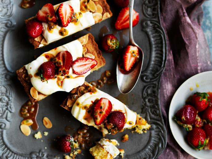 """Embrace Summer fruits with this **[strawberry and passionfruit frangipane cake recipe.](http://www.foodtolove.com.au/recipes/strawberry-and-passionfruit-frangipane-cake-21718 target=""""_blank"""")** Your family will love the addition of thick cream and zesty passionfruit."""