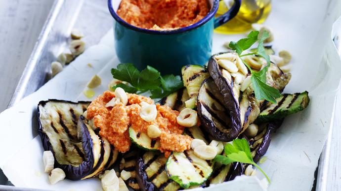 romesco sauce with eggplant and zucchini