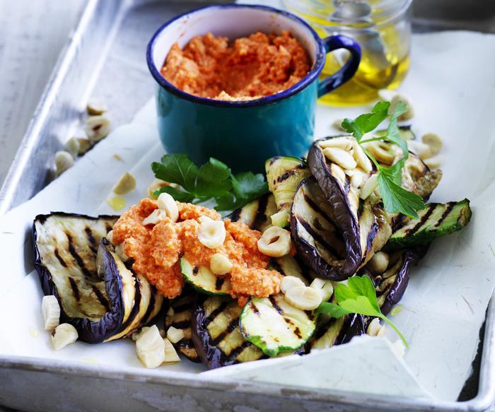 romesco sauce with eggplant and zucchini