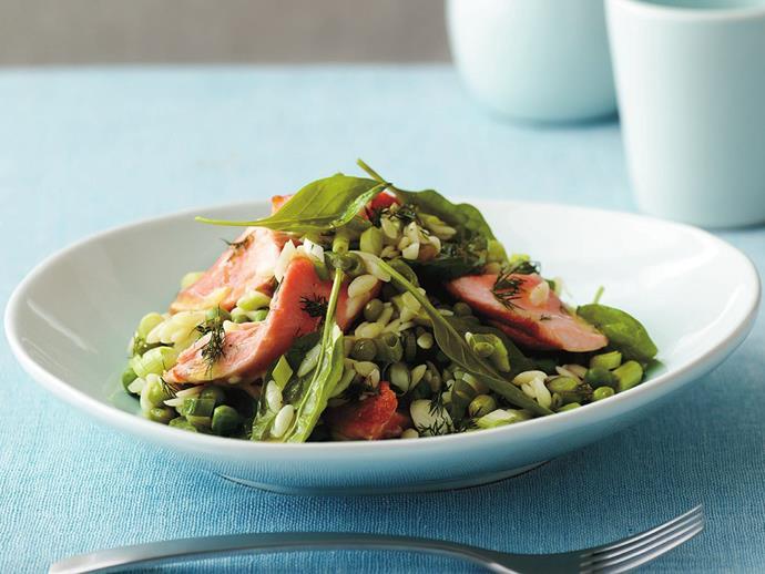 "**[Warm salmon, risoni and pea salad](https://www.womensweeklyfood.com.au/recipes/warm-salmon-risoni-and-pea-salad-12225|target=""_blank"")**"