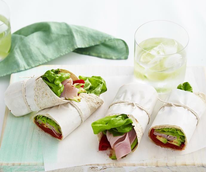 spicy ham and avocado wrap