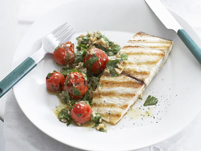 "Fresh, tasty and full of flavour, this [barramundi with tomato, caper and walnut dressing](https://www.womensweeklyfood.com.au/recipes/barramundi-with-tomato-caper-and-walnut-dressing-12257|target=""_blank"") is the perfect dish to serve at a weekend lunch party."