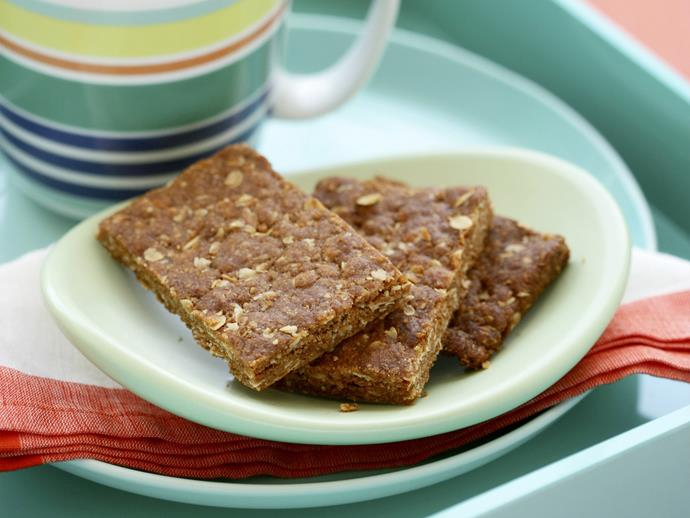 """Enjoy the delicious butterscotch flavours of the [Anzac biscuit in chewy slice form](http://www.womensweeklyfood.com.au/recipes/anzac-slice-12265