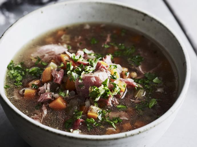 "**[Ham and green lentil soup with gremolata](https://www.womensweeklyfood.com.au/recipes/ham-and-green-lentil-soup-with-gremolata-12283|target=""_blank"")**  Dig into this classic winter warmer with melt-in-your-mouth ham, tender lentils and juicy vegetables topped with fragrant gremolata. Serve with a generous slice of crusty bread and melting butter."