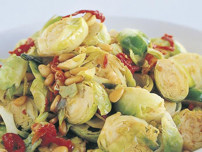 "**[Brussels sprouts and sun-dried tomato stir-fry](https://www.womensweeklyfood.com.au/recipes/brussels-sprouts-and-sun-dried-tomato-stir-fry-12288|target=""_blank"")**"