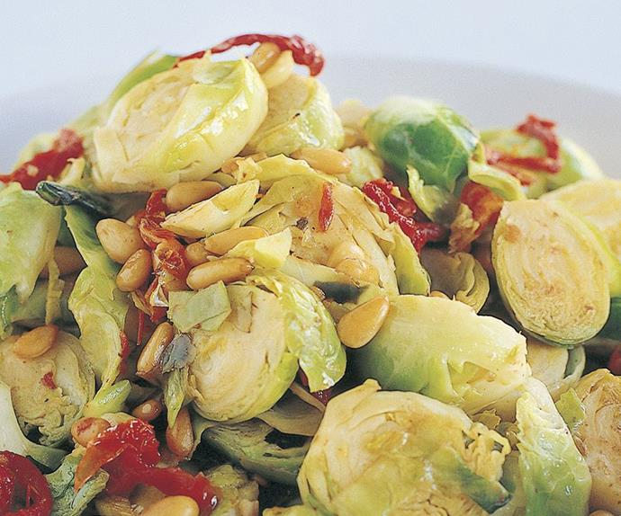 brussels sprouts and sun-dried tomato stir-fry