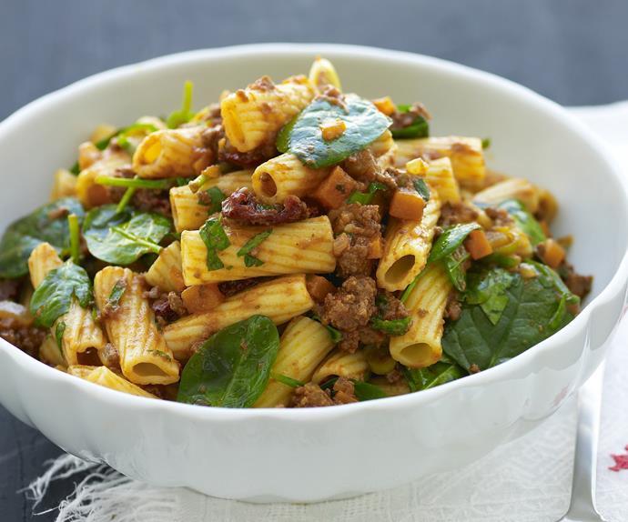 warm creamy bolognese pasta salad