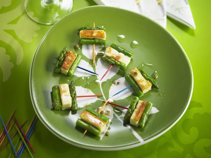 "**[Haloumi and asparagus bites](https://www.womensweeklyfood.com.au/recipes/haloumi-and-asparagus-bites-11745|target=""_blank"")**"