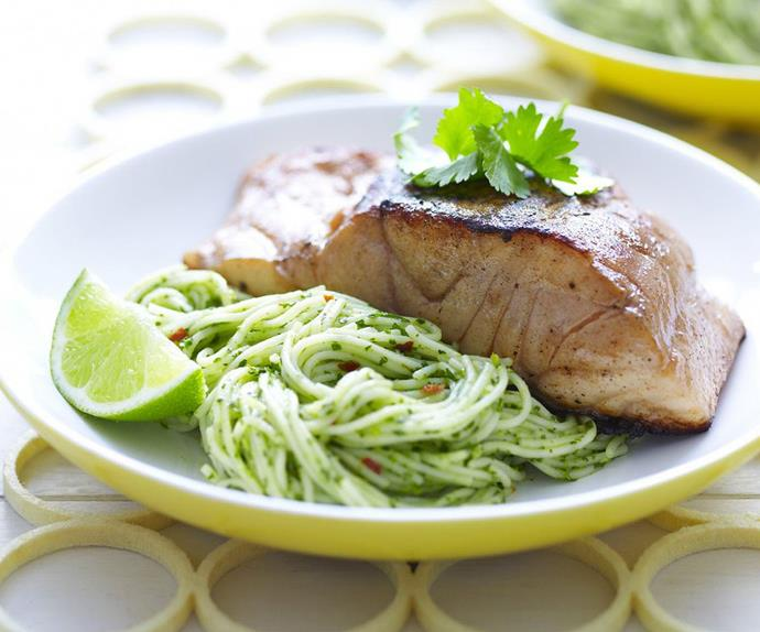 ginger and soy fish with coriander noodles
