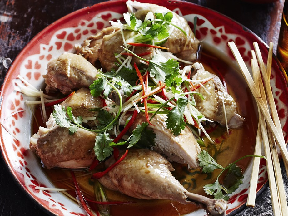 "This [chicken with soy & sesame](https://www.womensweeklyfood.com.au/recipes/slow-cooker-chicken-with-soy-and-sesame-4925|target=""_blank"") recipe involves cooking a whole chicken your slow cooker and cutting it up after for the most moist and tender chicken imaginable!"