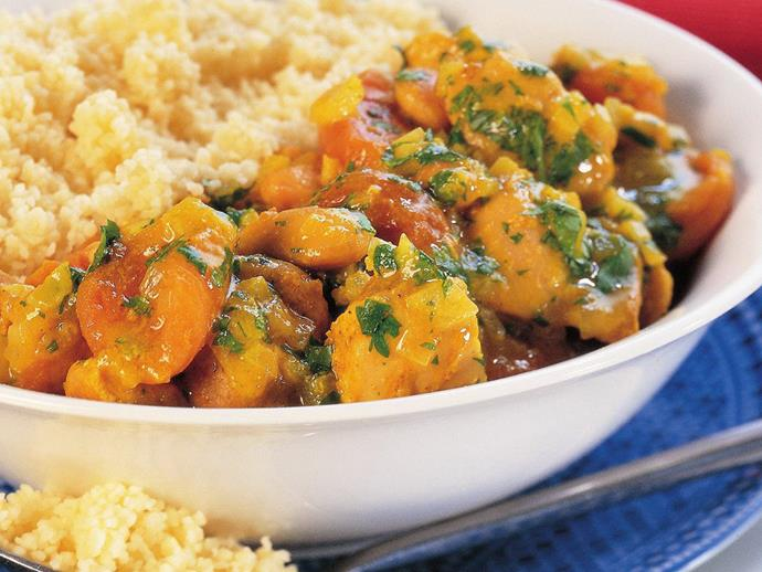 """**[Spiced apricot and chicken tagine](https://www.womensweeklyfood.com.au/recipes/spiced-apricot-and-chicken-tagine-11785