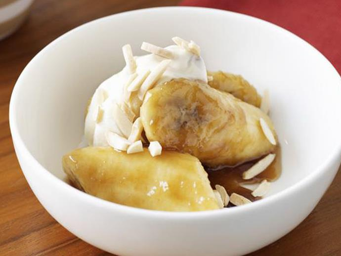 """The luxurious flavour of these [butterscotch bananas](https://www.womensweeklyfood.com.au/recipes/butterscotch-bananas-16548 target=""""_blank"""") completely belies the ease with which they are prepared. These sticky, caramelised morsels can only be enhanced by lashings of the creamy nougat yoghurt topping."""