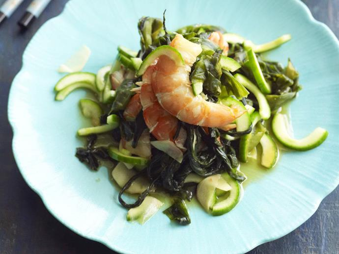 "**[Prawn, cucumber and wakame salad](https://www.womensweeklyfood.com.au/recipes/prawn-cucumber-and-wakame-salad-4940|target=""_blank"")**"