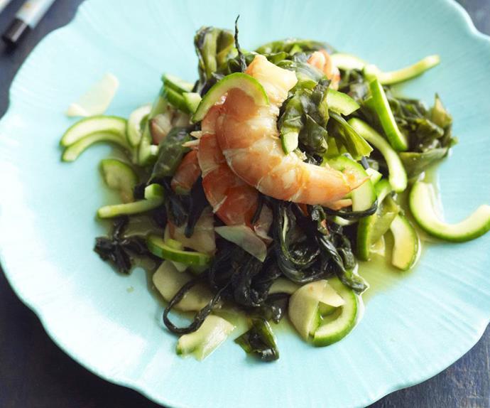 Prawn, cucumber and wakame salad