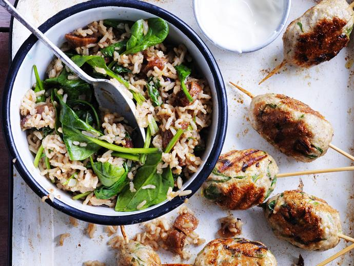 "[Spiced turkey koftas](https://www.womensweeklyfood.com.au/recipes/turkey-koftas-with-fig-and-brown-rice-pilaf-11802|target=""_blank"") with sweet and fragrant fig and brown rice pilaf."