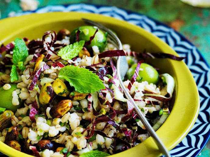 """**[Barley with pistachios and green olives](https://www.womensweeklyfood.com.au/recipes/barley-with-pistachios-and-green-olives-11807