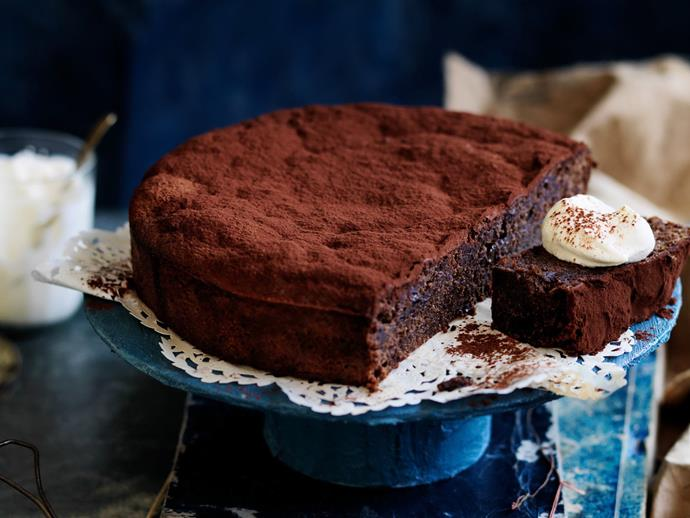 "Served with hazelnut whipped cream, this [chocolate, prune and hazelnut cake](https://www.womensweeklyfood.com.au/recipes/flourless-chocolate-prune-and-hazelnut-cake-11848|target=""_blank"") is dense, decadent and gluten-free."