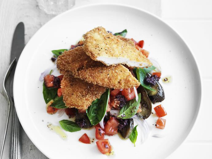 "**[Crisp parmesan chicken with eggplant salad](https://www.womensweeklyfood.com.au/recipes/crisp-parmesan-chicken-with-eggplant-salad-11857|target=""_blank"")**"