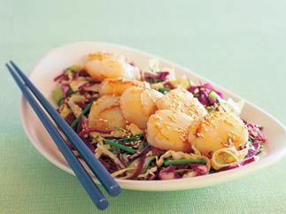 Seared scallops with mixed cabbage salad