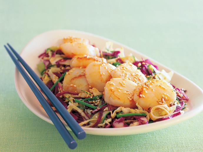 "**[Seared scallops with mixed cabbage salad](https://www.womensweeklyfood.com.au/recipes/seared-scallops-with-mixed-cabbage-salad-11865|target=""_blank"")**  Nutty sesame, sweet scallops and crisp cabbage salad make a delightful combination."