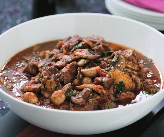 slow-cooked beef and mushroom casserole