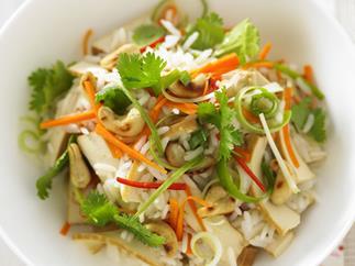 kaffir lime and rice salad with tofu and cashews