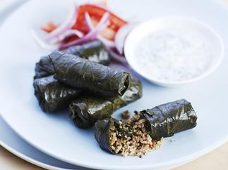 Stuffed vine leaves with yogurt dip