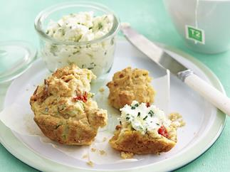 savoury breakfast muffin with chive ricotta