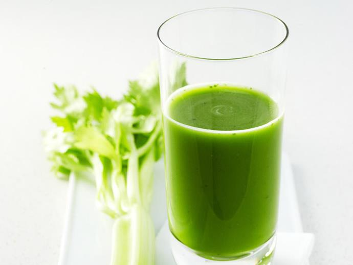 "**[Celery, spinach and grape juice](http://www.womensweeklyfood.com.au/recipes/celery-spinach-and-grape-juice-11907|target=""_blank""):** All the good stuff mixed up into one slurpable juice. Make double because you won't be able to stop at one."