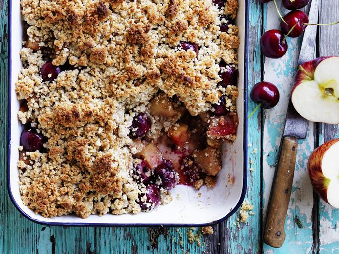 "**[Apple, cherry and rosemary crumble](https://www.womensweeklyfood.com.au/recipes/apple-cherry-and-rosemary-crumble-11923|target=""_blank"")**"