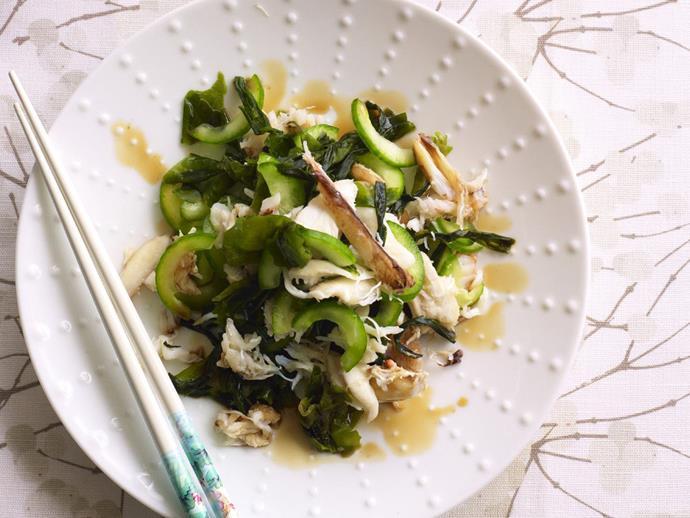 "**[Crab, cucumber and wakame salad](https://www.womensweeklyfood.com.au/recipes/crab-cucumber-and-wakame-salad-11969|target=""_blank"")**"