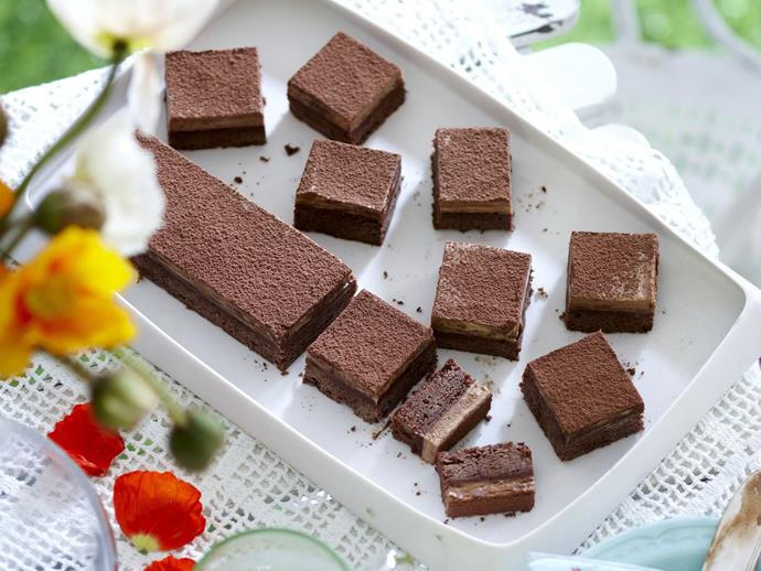 "**[Mocha mousse slice](https://www.womensweeklyfood.com.au/recipes/mocha-mousse-slice-4795|target=""_blank"")**  A deliciously dark chocolate biscuit base with soft, mocha mousse come together in this decadent rich slice."