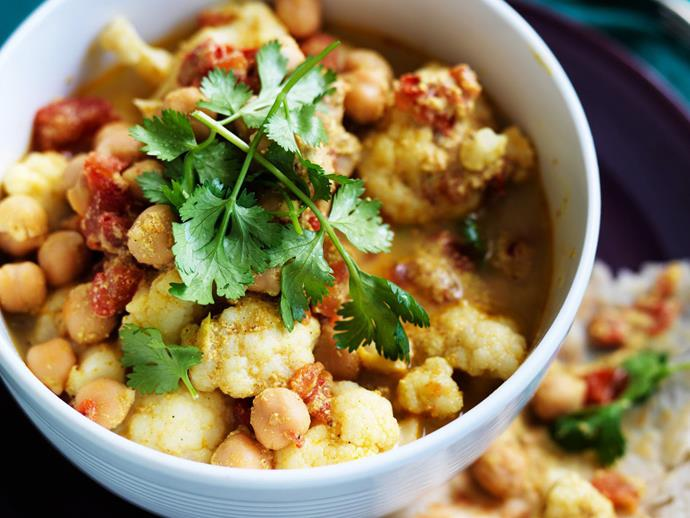 """**[Cauliflower and chickpea curry](https://www.womensweeklyfood.com.au/recipes/cauliflower-and-chickpea-curry-11987