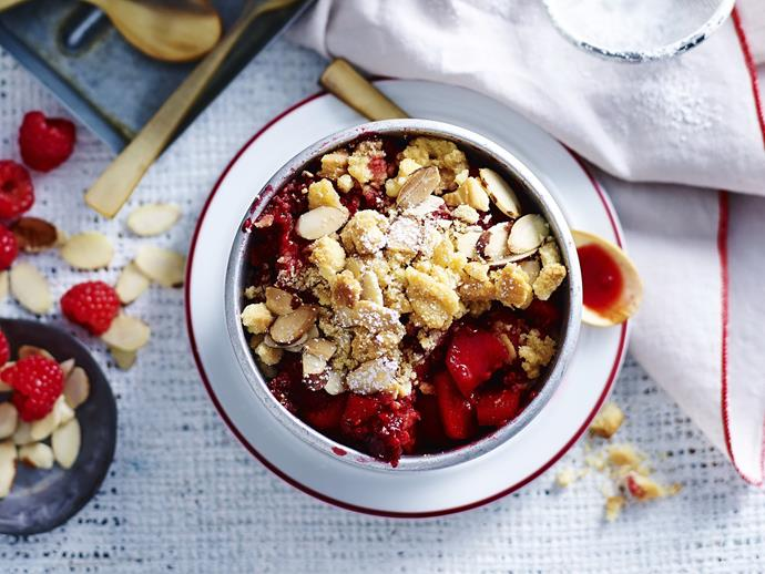 "**[Apple and raspberry almond crumbles](https://www.womensweeklyfood.com.au/recipes/apple-and-raspberry-almond-crumbles-12014|target=""_blank"")**  Perfect for a dinner party, these colourful crumbles are delicious topped with a scoop of melting ice-cream."