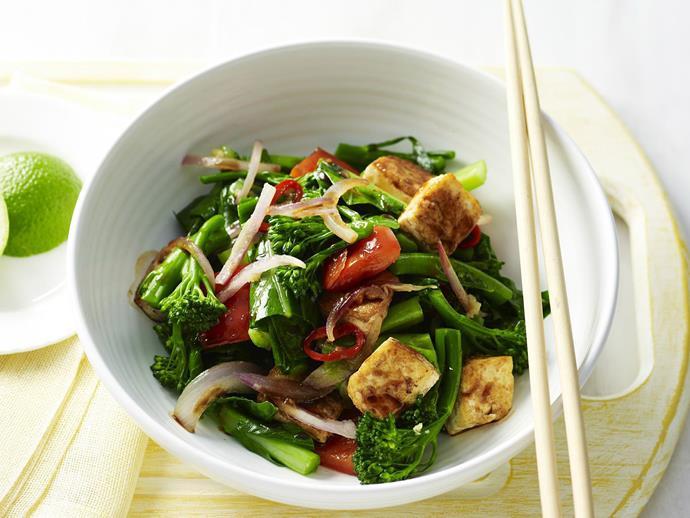"**[Chilli tofu stir-fry](https://www.womensweeklyfood.com.au/recipes/chilli-tofu-stir-fry-12023 target=""_blank"")**"