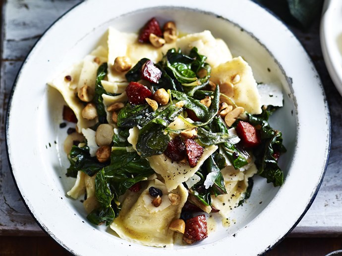 CHEESE RAVIOLI WITH SILVERBEET & PEPPERONI
