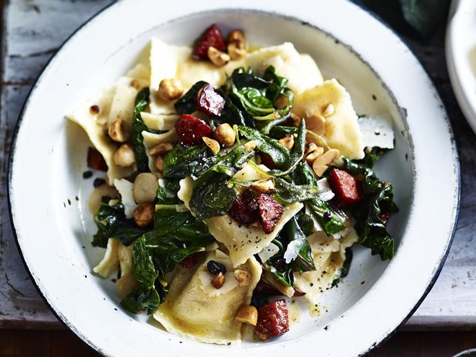 "**[Cheese ravioli with silverbeet & pepperoni](https://www.womensweeklyfood.com.au/recipes/cheese-ravioli-with-silverbeet-and-pepperoni-12024|target=""_blank"")** With creamy ravioli and tender silver beet, spicy pepperoni, sweet currants, and hazelnuts - this salad is like a Italian fiesta in your mouth."