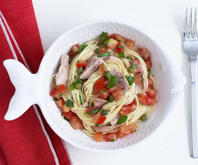 angel hair pasta with tomato, tuna and capers