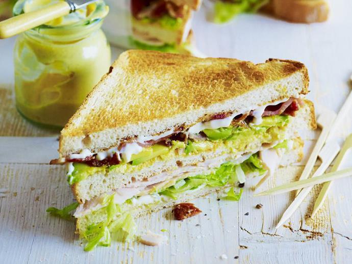 "[Turkey, bacon and avocado sandwich](https://www.womensweeklyfood.com.au/recipes/turkey-bacon-and-avocado-sandwich-11573|target=""_blank"")"