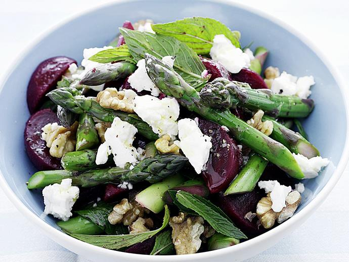 "This easy [beetroot, asparagus and feta salad](https://www.womensweeklyfood.com.au/recipes/beetroot-asparagus-and-feta-salad-15578|target=""_blank"") is packed full of colour and goodness and makes an appetising addition to the barbecue table. The tangy dressing and walnuts add an extra depth of flavour and texture."